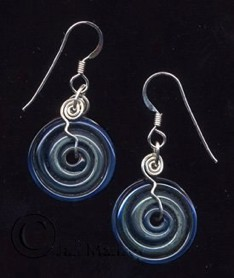 artist-made borosilicate glass discs hanging from handmade sterling silver wires