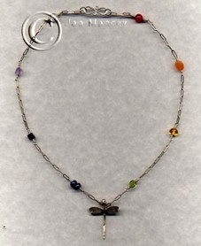 hand fashioned sterling silver and assorted genuine gemstones choker, highlighting a Karen Hilltribe dragonfly