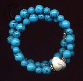 adjustable bracelet of turquoise, mother-of-pearl, and Bali sterling silver